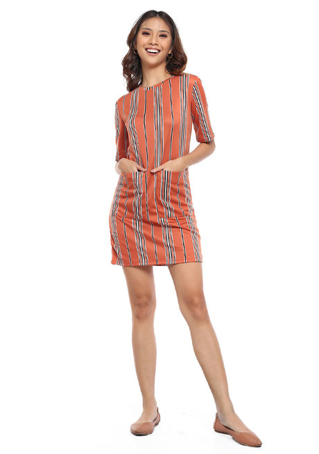 Vertical Striped Dress w/ Double Pocket by Glamour Studio