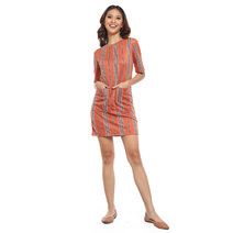 Vertical Striped Dress w/ Double Placket by Glamour Studio