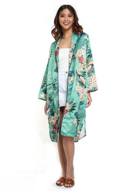 Green Floral Kimono by Pink Lemon Wear