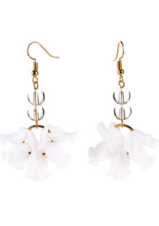 White Petal Earrings by Bedazzled
