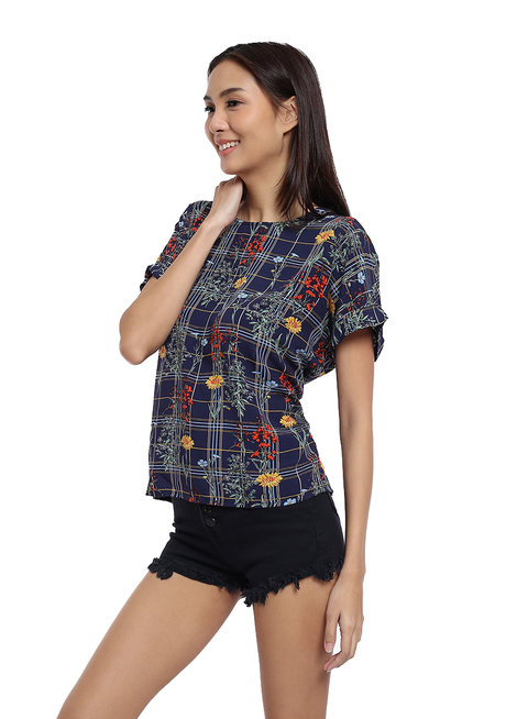 Floral Printed Top w/ Cuff Detail by Glamour Studio
