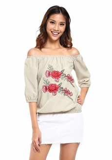 Estrella Embroidered Cold-Shoulder Top by Chelsea