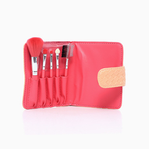 5-Piece Makeup Brush Set with Quilted Pouch (Salmon) by Suesh