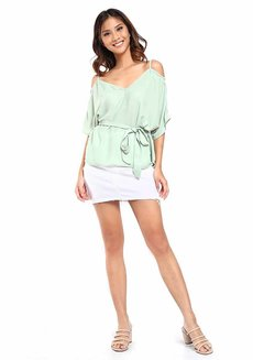 Landa Sweetheart Cold-Shoulder Top by Chelsea