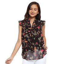 Lourdes Pussybow Flounce Top by Chelsea