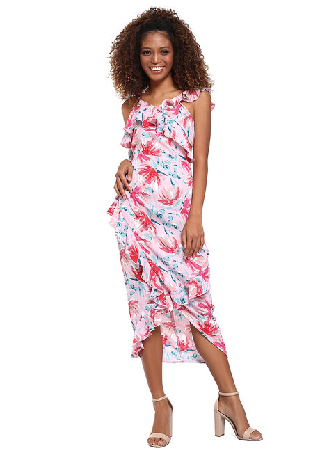 Mahogony Ruffle Midi Dress by Chelsea