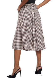 Beige Checkered Skirt by Pink Lemon Wear