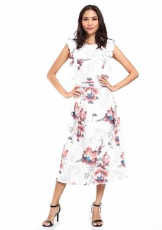 Erlene Ruffle Midi Dress by Chelsea
