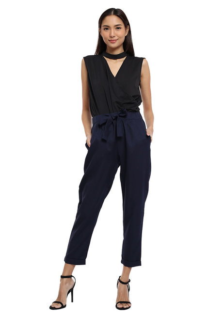 Cropped Trouser w/ Tie Belt by Glamour Studio