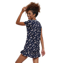 Floral Shift Dress with Ruffle Flounce by Glamour Studio