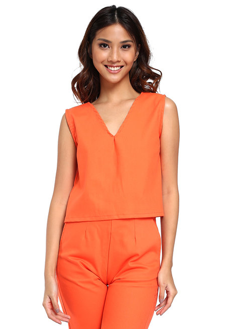 Natalie Semi-Cropped Top with Ribbon by Loukha