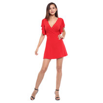 Beatrice Surplice Neckline Flare Dress by Frassino Collezione