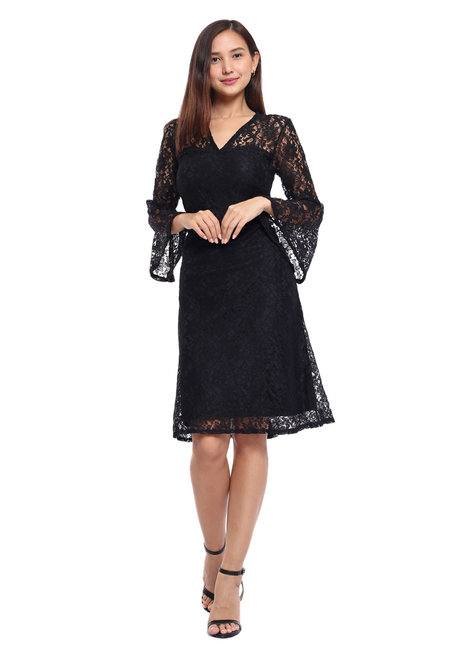 Alexandra Lace Bell Sleeve Sheath Dress by Frassino Collezione