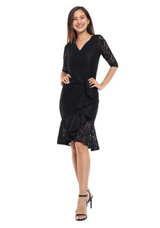 Audrey Quarter Sleeve Asymmetrical Dress by Frassino Collezione