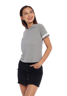 Knitted Top with Ribbing and Ruffle Detail by Glamour Studio