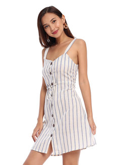 Striped Sun Dress with Button Detail by Glamour Studio