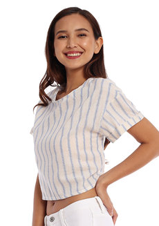 Striped Dropped Shoulder Top by Glamour Studio