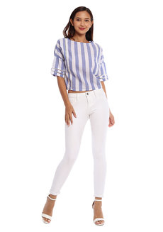 Striped Top with Trim and Tie Detail by Glamour Studio