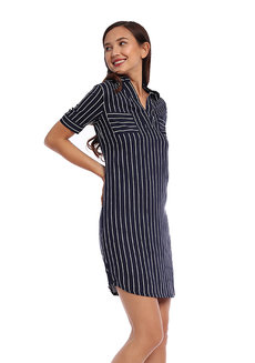 Striped Half Placket Shirt Dress by Glamour Studio