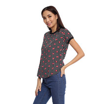 Striped Ringer Short Sleeve Top by Glamour Studio