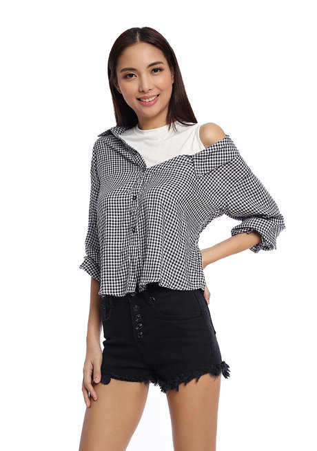 Asymmetrical Off Shoulder Button Down Top by Glamour Studio