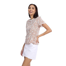 Floral Printed Top with Contrast White Neckline by Glamour Studio