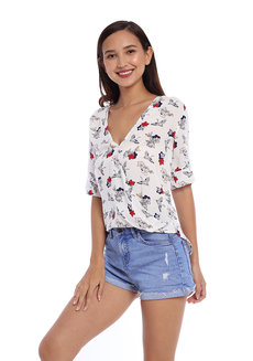 Floral Printed Quarter Sleeve Wrap Top by Glamour Studio