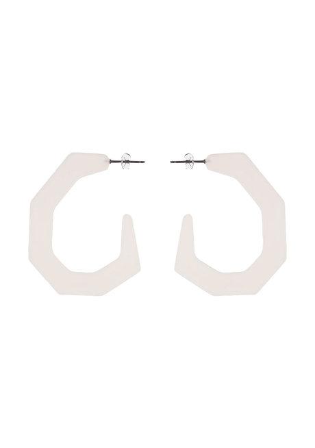 Bella (Matte Hexagon Acrylic Hoop Earrings) by Kera & Co