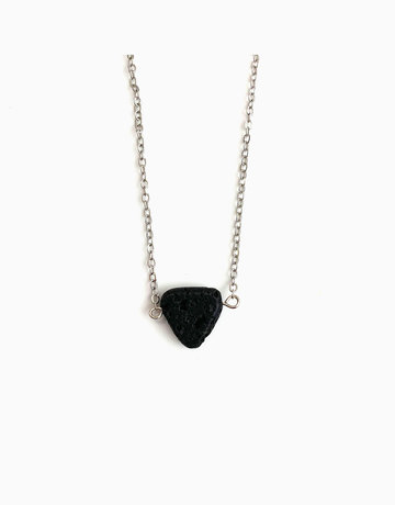 Triangular Lava Rock Diffuser Pendant with Necklace (Silver) by Stones for the Soul