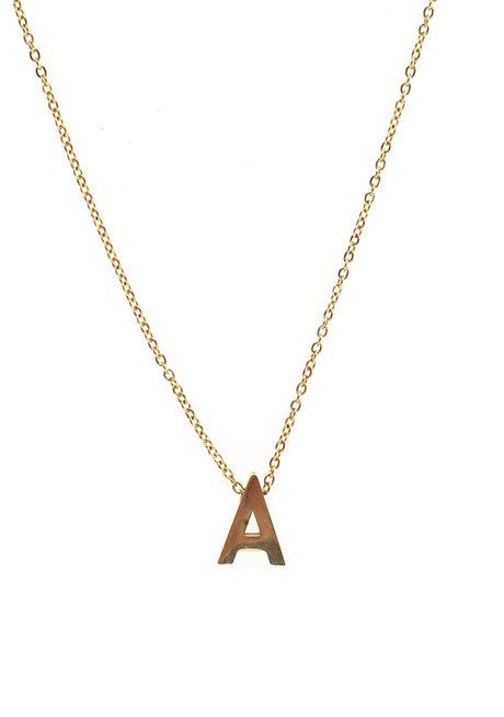 Letter A Gold Necklace by Adorn by MV