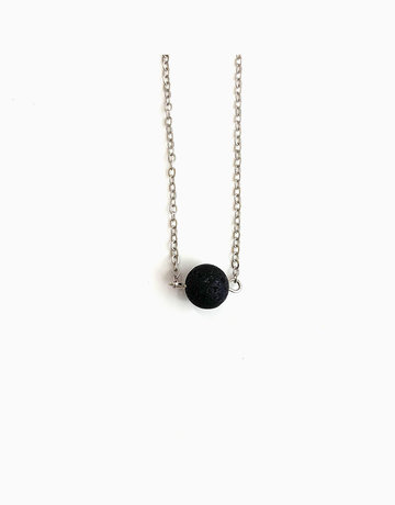 Round Lava Rock Diffuser Pendant with Necklace (Silver) by Stones for the Soul