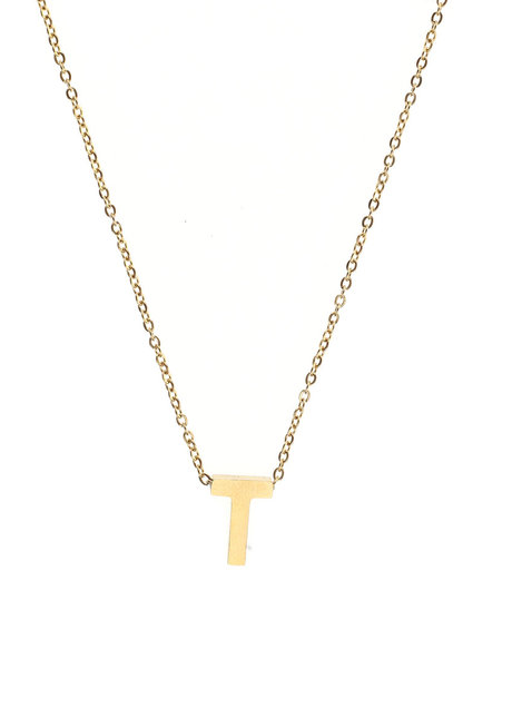 Letter T Gold Necklace by Adorn by MV