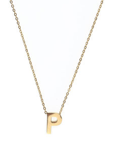 Letter P Gold Necklace by Adorn by MV