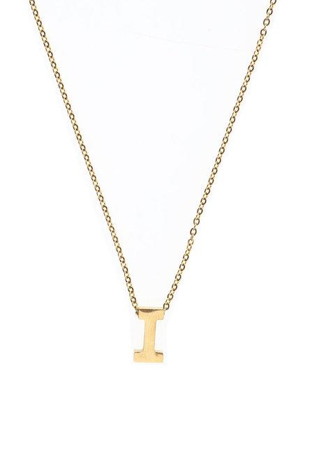 Letter I Gold Necklace by Adorn by MV