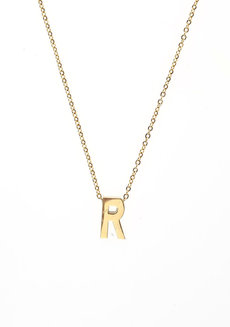 Letter R Gold Necklace by Adorn by MV