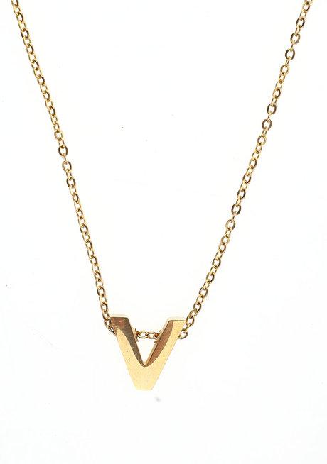 Letter V Gold Necklace by Adorn by MV