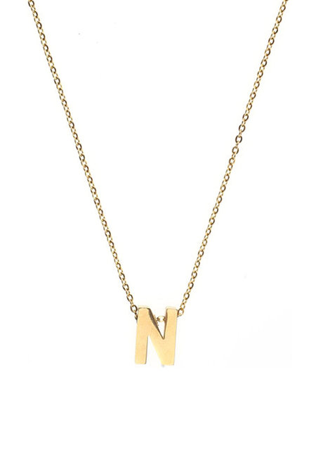 Letter N Gold Necklace by Adorn by MV