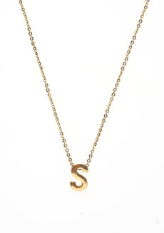 Letter S Gold Necklace by Adorn by MV