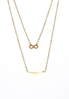 Infinity x Curved Bar Gold  Dual Necklace by Adorn by MV