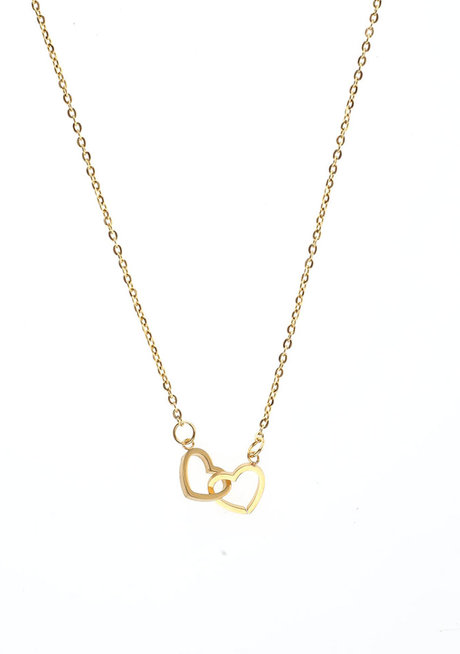 Twin Hearts Gold Necklace by Adorn by MV