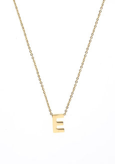 Letter E Gold Necklace by Adorn by MV