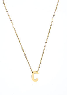 Letter C Gold Necklace by Adorn by MV