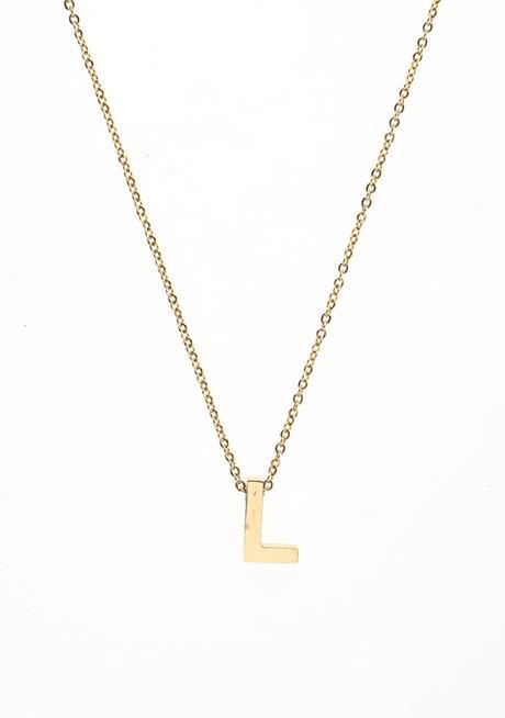 Letter L Gold Necklace by Adorn by MV