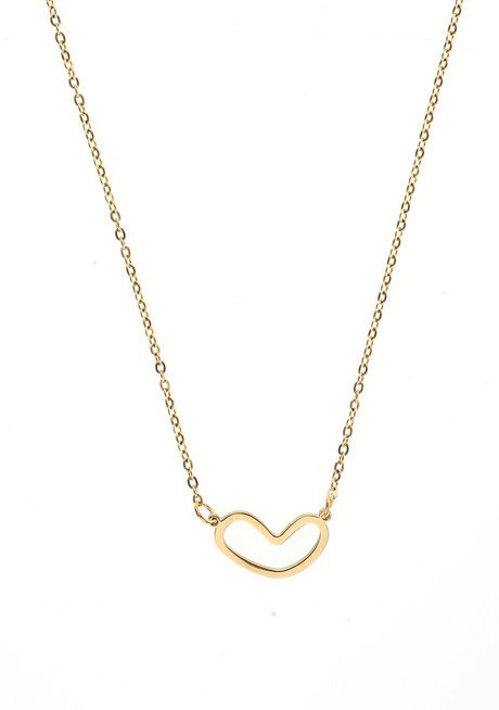 Wide Heart Gold Necklace by Adorn by MV