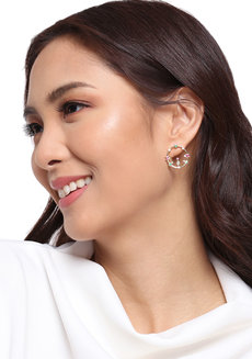 Cyril (Rhinestone Circular Earrings) by Kera & Co
