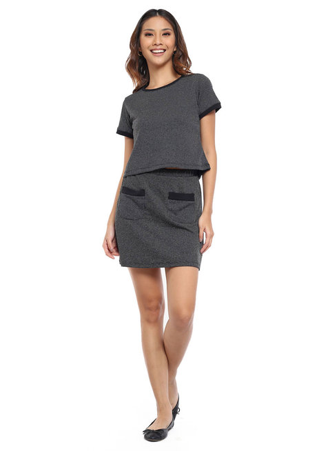 Textured Knit Matching Set Mini Skirt by Glamour Studio