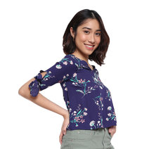 Floral Quarter Sleeve Top with Tie Detail by Glamour Studio
