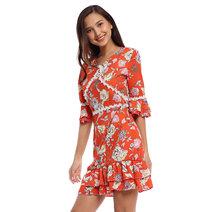 Kika V-Neck Flounce Dress by Chelsea