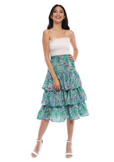 Floral Ruffled Skirt by Pink Lemon Wear
