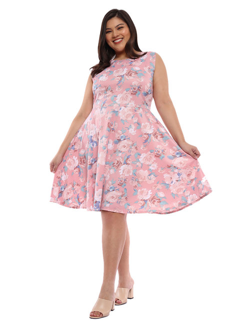 Plus Size Allie Floral Fit & Flare Dress by Frassino Collezione